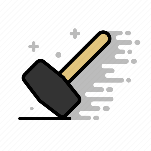 construction, hammer, mallet, tools, wood icon