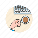 area, coffee, desktop, drink, keyboard, office, work icon
