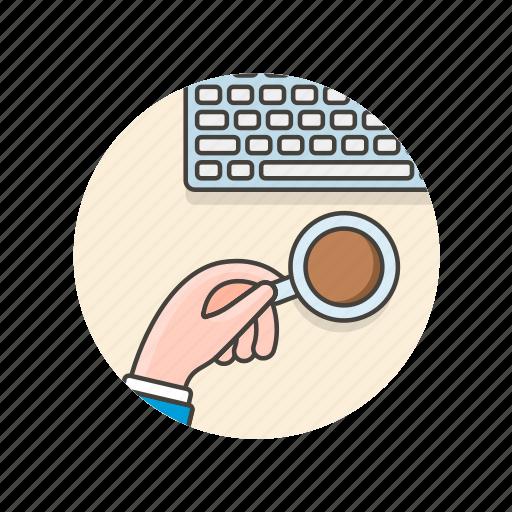 area, coffee, desktop, drink, keyboard, office, work icon