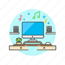 area, desktop, imac, music, playing, song, speaker, work icon