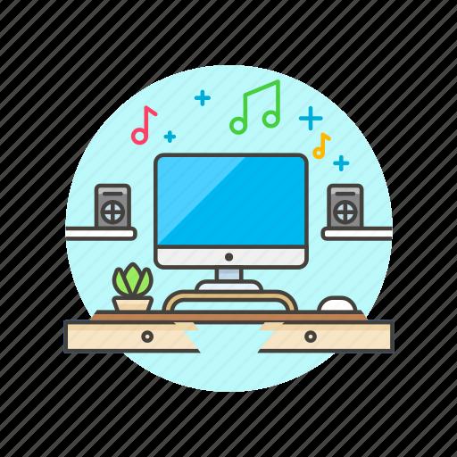 area, desktop, imac, music, play, song, speaker, work icon