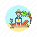 beach, business, digital, job, laptop, man, nomad icon