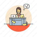 billing, business, financial, job, office, table, woman, work icon