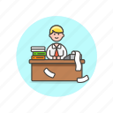 billing, business, financial, job, man, office, table, work icon