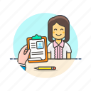 business, interview, job, office, table, woman, work icon