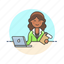 check, data, document, job, laptop, office, woman, work icon