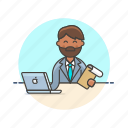 business, check, data, document, job, laptop, man, work icon