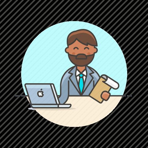 business, check, data, document, job, laptop, man, work icon