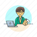 business, check, data, document, job, laptop, office, table, work icon