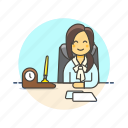 business, desk, job, office, supervisor, woman, work icon