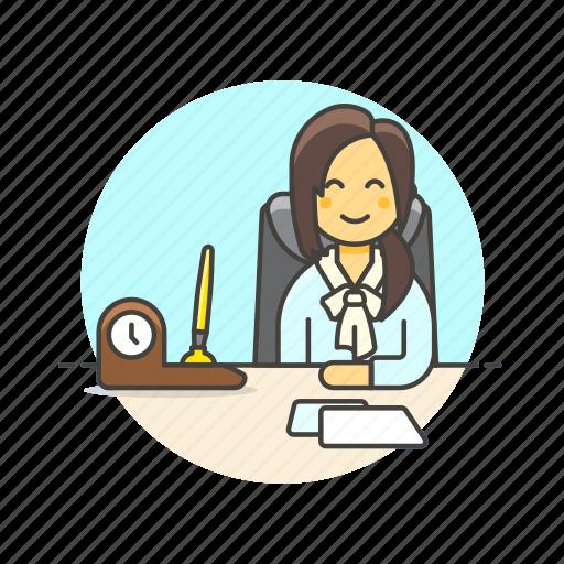 business, desk, job, office, supervisor, woman, work icon