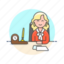 business, desk, job, office, supervisor, table, woman, work icon
