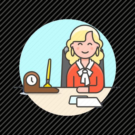 business, desk, job, office, supervisor, table, woman, work icon