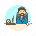 business, desk, job, man, office, supervisor, table, work icon