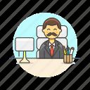 business, desk, job, man, office, supervisor, table, work icon