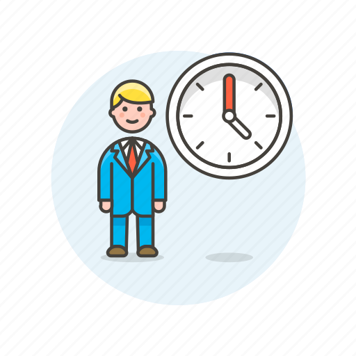 business, clock, job, man, office, table, time, work icon