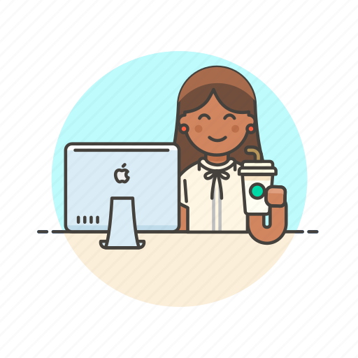 business, coffee, desk, job, office, table, woman, work icon
