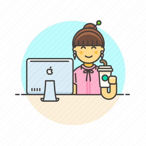 business, desk, job, office, table, woman, work icon