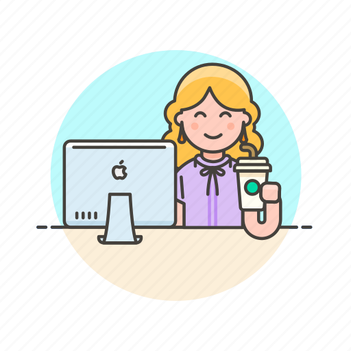 business, desk, drink, job, office, table, woman icon