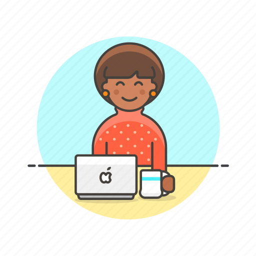 apple, business, job, laptop, office, table, woman, work icon