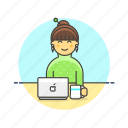 business, drink, job, laptop, office, table, woman, work icon