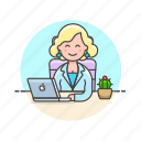 business, job, laptop, office, table, woman, work icon