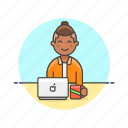 business, job, laptop, man, office, table, work icon