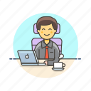 business, coffee, job, laptop, man, office, table, work icon