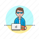 apple, business, job, laptop, man, office, table, work icon