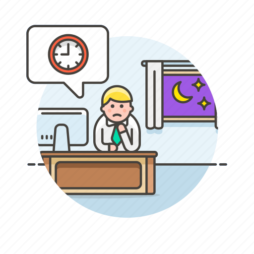 against, business, clock, job, office, table, time, work icon