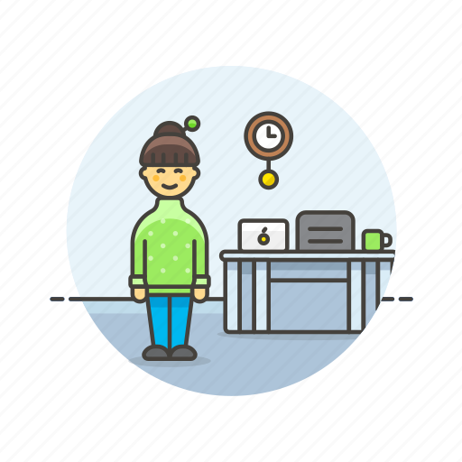 business, clock, desk, job, office, table, woman, work icon