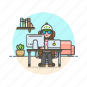 business, desk, job, laptop, office, table, woman, work icon