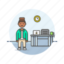 business, clock, desk, job, man, office, table, work icon