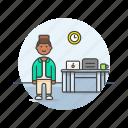 business, clock, desk, job, man, office, table, work icon
