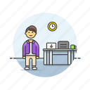 business, desk, job, laptop, man, office, table, work icon
