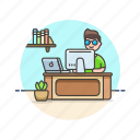 business, desk, job, man, office, table, work icon