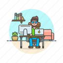 apple, business, desk, job, man, office, table, work icon