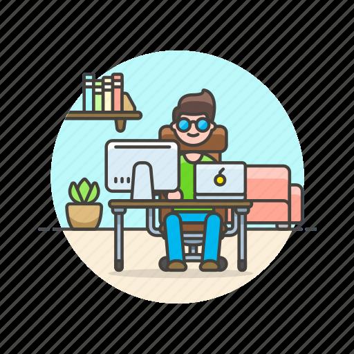 apple, business, desk, job, man, office, table, work icon