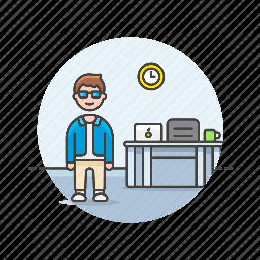 business, desk, job, laptop, man, office, table, work icon