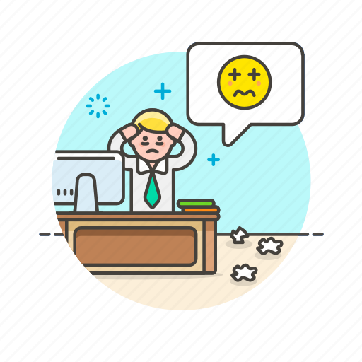 business, desk, idea, of, office, out, panic, stress, work icon