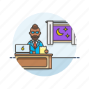 desk, work, business, job, laptop, office, overtime icon