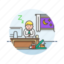 business, desk, job, man, office, sleep, table, work icon