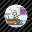 business, desk, job, man, office, sleep, table, work icon