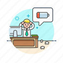 battery, business, energy, job, low, office, stress, work icon