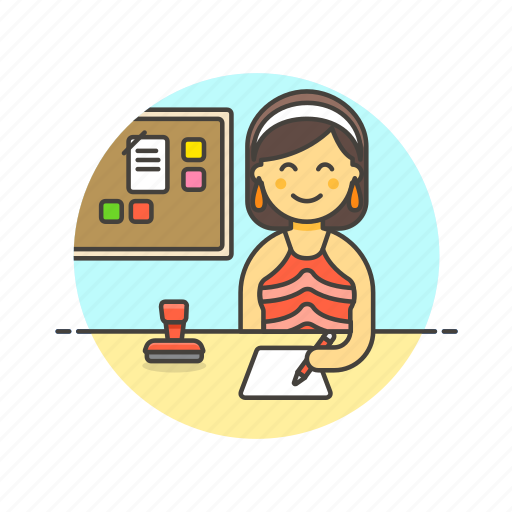board, business, document, job, office, table, woman, work icon