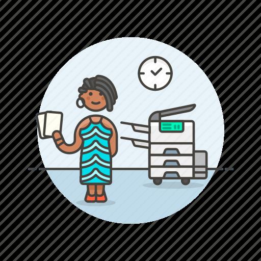document, job, office, paper, photocopier, print, woman, work icon
