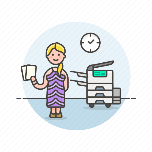 document, job, office, photocopier, print, table, woman, work icon