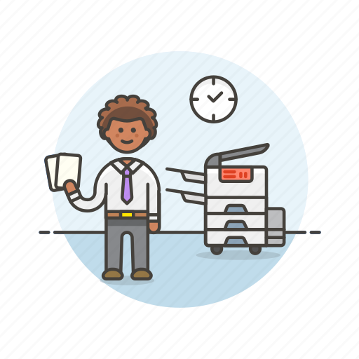 document, job, man, office, paper, photocopier, print, work icon