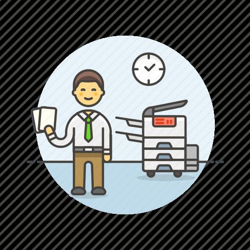 business, document, job, man, office, photocopier, print, work icon
