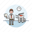 business, document, job, man, office, photocopier, print, work icon
